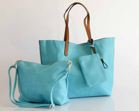 The Hervè Italian Vegan Leather Tote, Cosmetic Bag & Wristlet - Multiple Colors