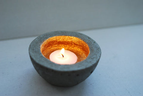 Concrete Tea Light Holder with Metallic Center Set of 2 - Charcoal or Natural