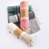 Fethiye Striped Ultra Soft Blanket Throw - Pink