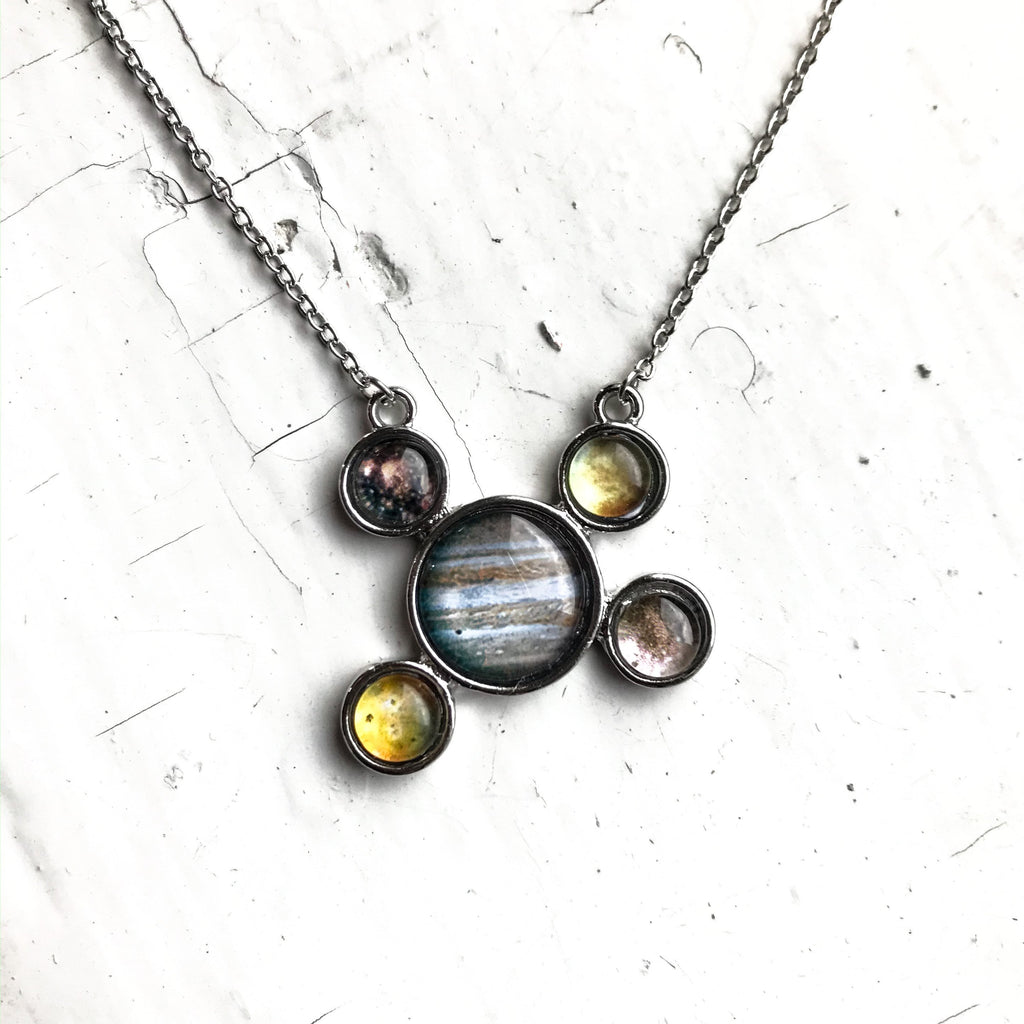 Jupiter and Galilean Moons Silver Pendant Necklace