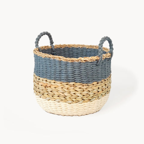 Ula Stripe Basket - Blue