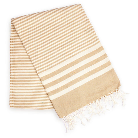 Fethiye Striped Ultra Soft Eco-Friendly Turkish Towel - Beige