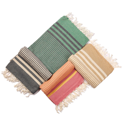 Fethiye Striped Ultra Soft Eco-Friendly Turkish Towel - Green & Navy Blue