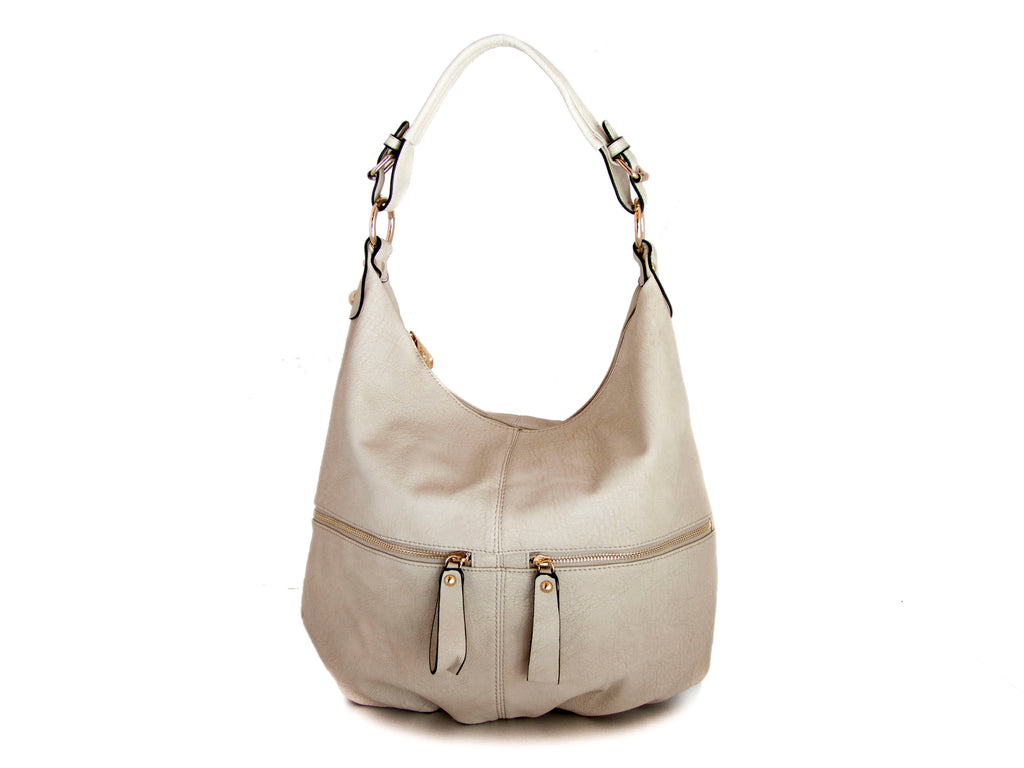 Beige Marbled Faux Leather Hobo Bag - Handmade in Italy