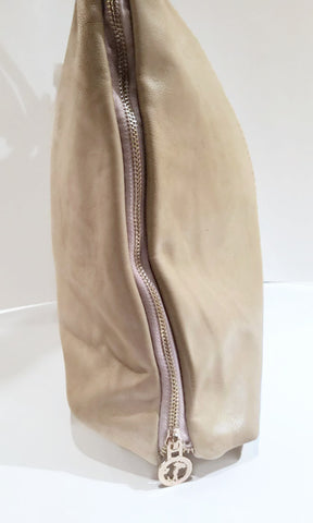 Textured Beige Handbag with Adjustable Zipped Sides - Handmade in Italy