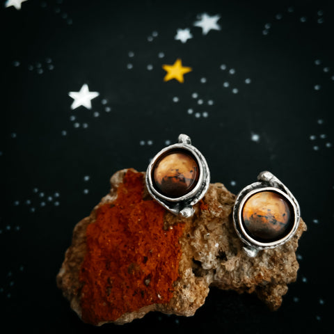 Mars and Moons Earrings - Stud or Leverback
