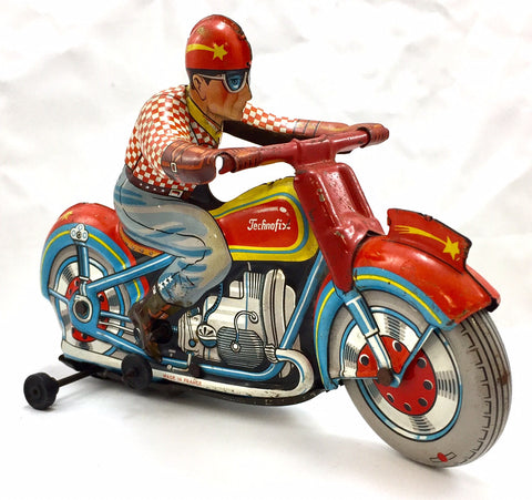 Technofix Plaid Racer Tin Wind Up Toy Motorcycle