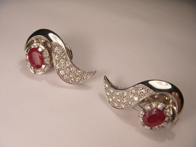 Beautiful 18K White Gold Ruby Rubies Pave Diamond Earrings