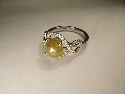 Estate 18K White Gold Raw Yellow Solitaire Diamond 3 Carat Engagement Ring