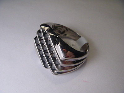 Estate Sterling 925 Silver Black Diamond Mens Mans Band Ring