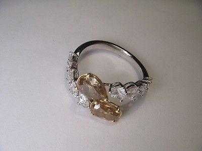 Stunning Estate 18K White Gold Fancy Oval Pear Brown Diamond Band Ring