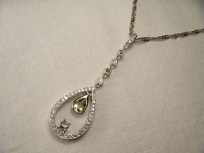 Beautiful 14K White Gold Green Amethyst Lemon Quartz Diamond Emerald Pendant