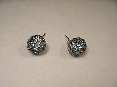 Beautiful 14K White Gold Blue Topaz Sphere Ball Stud Earrings Studs