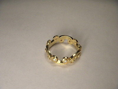 Beautiful 18K Yellow Gold Hidalgo Diamond Eternity Swirl Wedding Band Ring