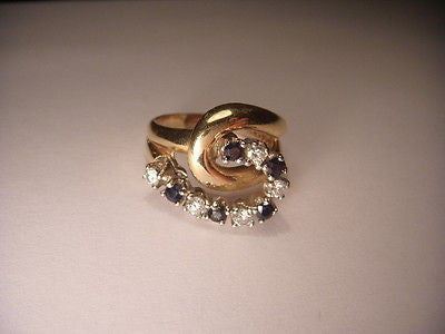 Beautiful Estate 14K Yellow Gold Diamond Sapphire Swirl Ring Band