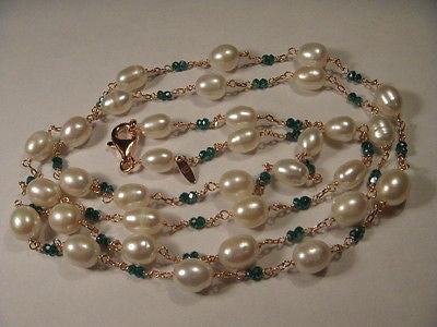 Beautiful Estate Vermeil Green Agate Pearl Chain Necklace