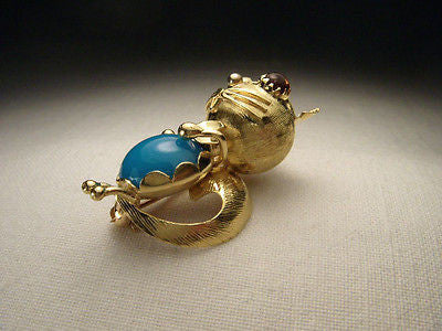 Lovely Estate 18K Yellow Gold Cat Garnet Turquoise Handmade Brooch Pin