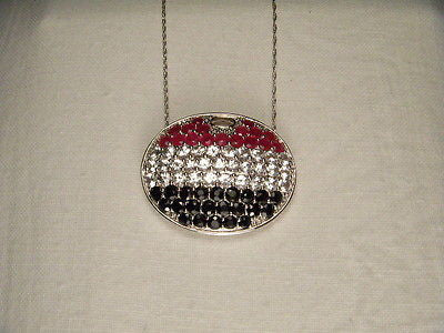 Fabulous 14K White Gold Sapphire Ruby Topaz American Flag Pendant Necklace