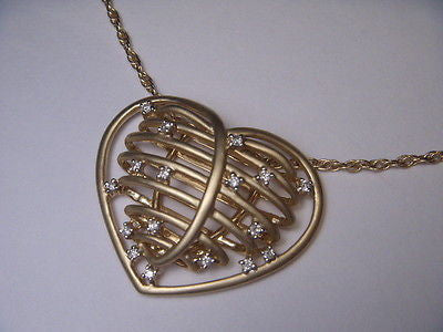Beautiful Estate 14K Matte Yellow Gold Huge Wired Diamond Heart Pendant