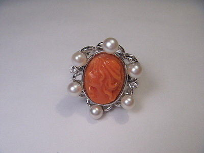 Estate 14K White Gold Filigree Seed Pearl Diamond Red Undyed Coral Cameo Ring