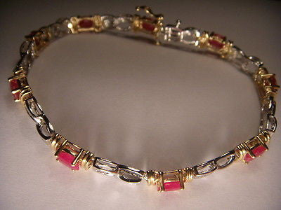Estate 14K 2-Tone Two-Tone White Gold Ruby Diamond Tennis Bracelet