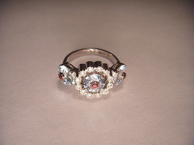 Fabulous Estate 18K White Gold Aquamarine Pink Tourmaline Diamond Ring Band