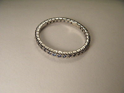 Beautiful Estate 14K White Gold Sapphire Eternity Wedding Ring Band