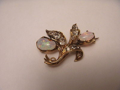 Beautiful Antique 14K Yellow Gold Opal Rose Cut Diamond Pendant Brooch Pin