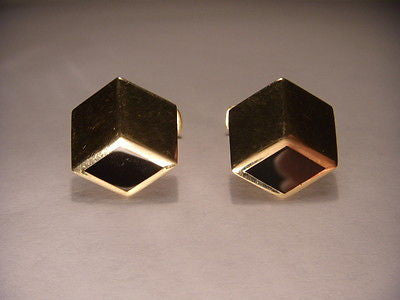 Stunning Estate 14K Yellow Gold Onyx Geometric Mens Cufflinks