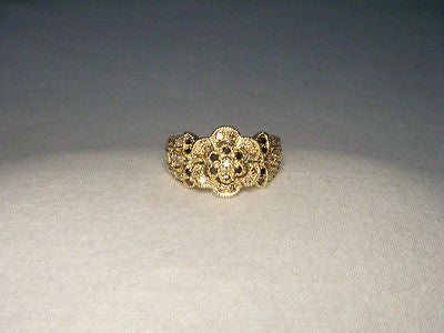 Beautiful Estate 14K Yellow Gold Filigree Black Brown Diamond Floral Band Ring