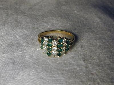 Gorgeous Estate 14K Yellow Gold Emerald Pave Diamond Ring