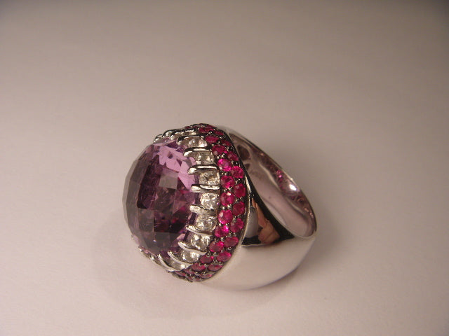 Beautiful 14K White Gold Diamond Sapphire Ruby Rubies Amethyst Bold Ring