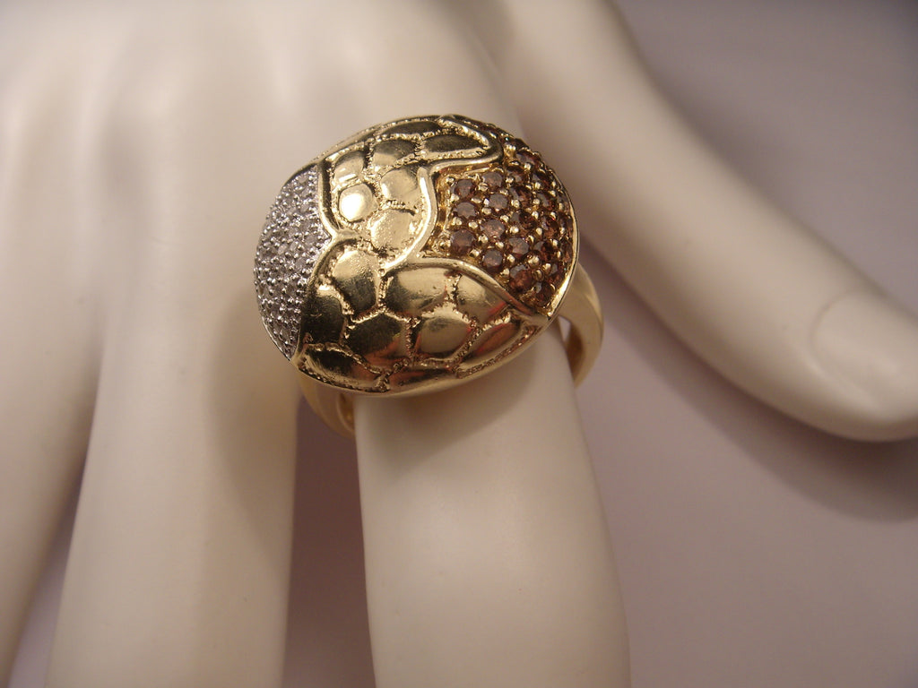 Fabulous Estate 14K Yellow Gold Champagne Diamond Beehive Nugget Handmade Ring