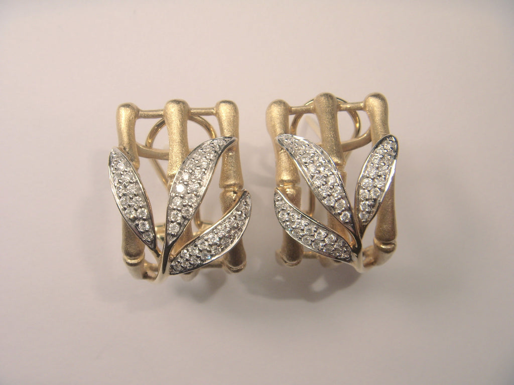 Beautiful 14K Yellow Gold Diamond Bamboo Shoot Leaf Designer Earrings