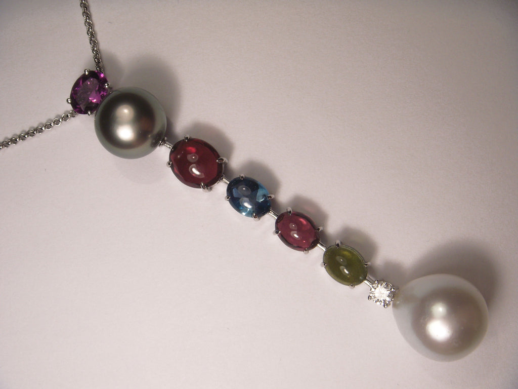 Unique 18K White Gold Diamond Gemstone Tahitian Pearl Pendant Necklace