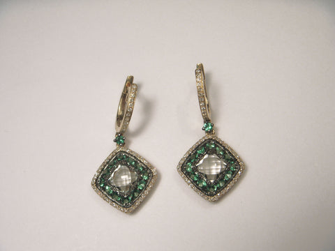 Beautiful 14K Yellow Gold Green Amethyst Diamond Tsavorite Drop Dangle Earrings
