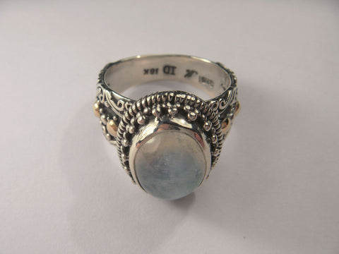 Exquisite Sterling Silver 18K Moonstone Ring