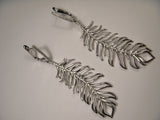 Fabulous 14K White Gold Diamond Designer Feather Dangle Drop Earrings
