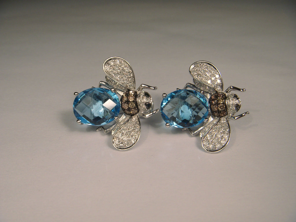 Gorgeous 14K White Gold Blue Topaz Bumble Bee Diamond Earrings