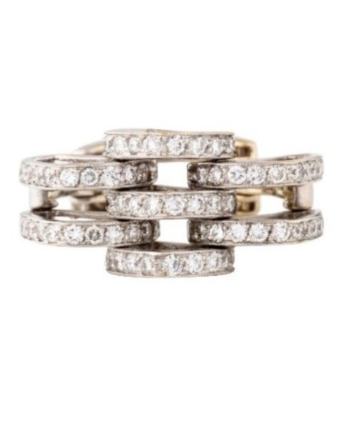 Gorgeous Designer 18K Diamond Link Mesh Band Ring