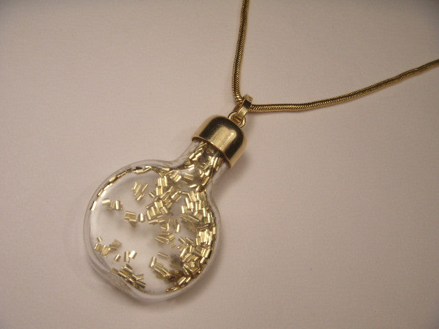 Stunning 14K Yellow Gold Powder Beads Glass Container Pendant Necklace