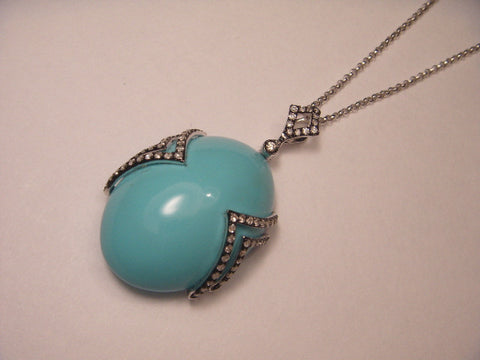Beautiful 14K White Gold Diamond Turquoise Pendant Necklace