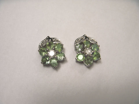 Beautiful 14K White Gold Alexandrite Diamond Floral Stud Earrings