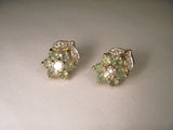 Exquisite 14K Yellow Gold Alexandrite Diamond Floral Stud Earrings