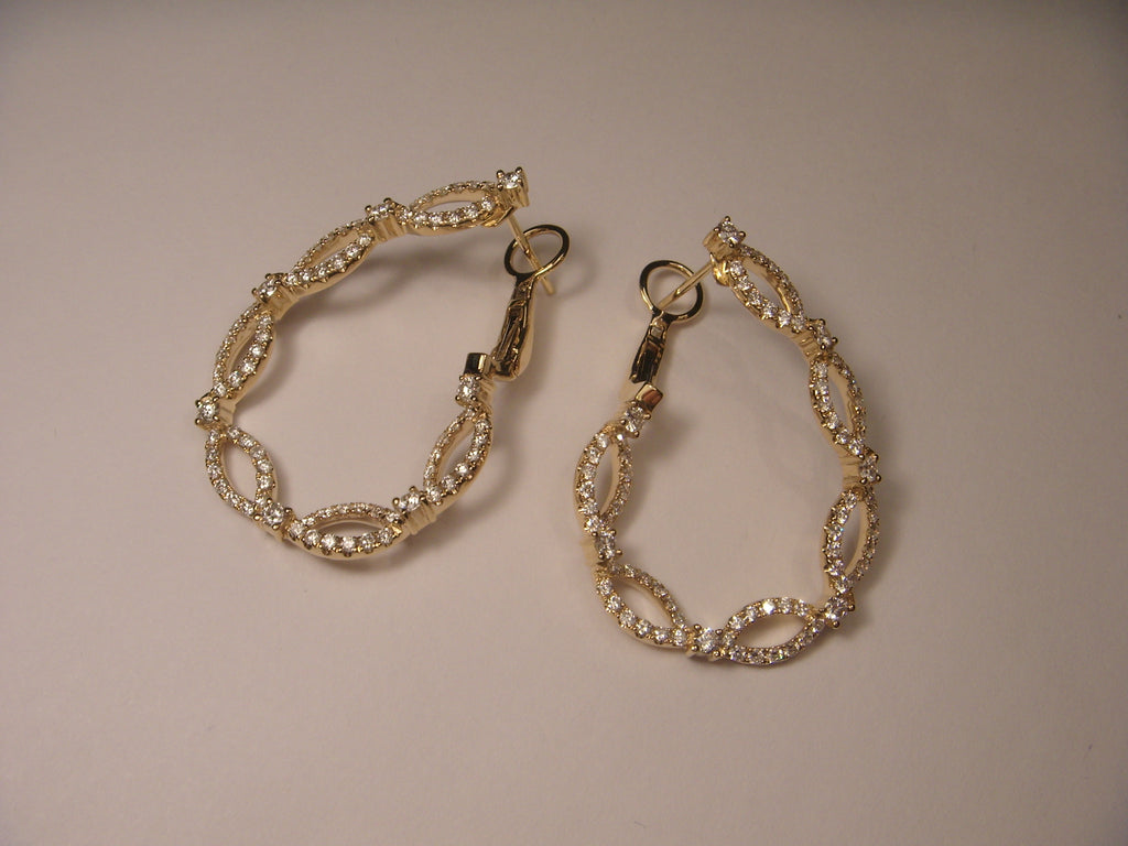 Fabulous 14K Yellow Gold Diamond Hoops Hoop French Clip Earrings