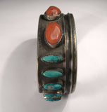 Beautiful Navajo Sterling Silver Hand Carved Turquoise Coral Bangle Bracelet