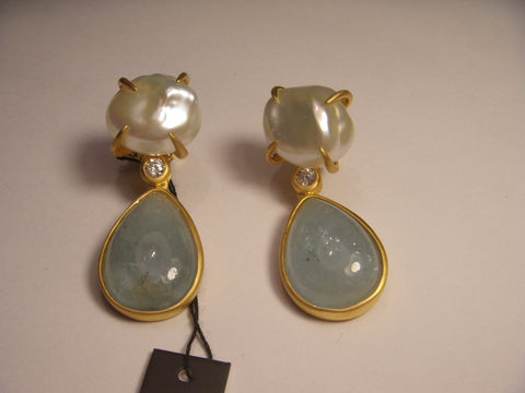 14K Yellow Gold Vermeil Silver White Topaz Aquamarine Baroque Pearl Designer Drop Earrings