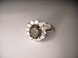 Exquisite 14K White Gold Huge Smokey Quartz Diamond Ring Band