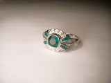 Exquisite 18K White Gold Diamond Emerald Vintage Ring Band