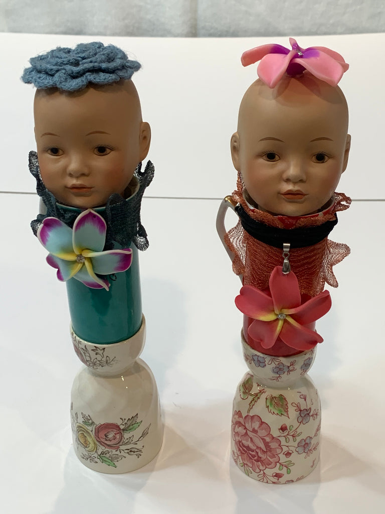 Gorgeous Pair Handmade Whimsical Porcelain Doll Head Boy Girl Home Decor